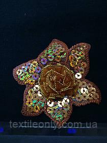 Аппликация с золотыми пайетками цветок , цвет светло коричневый