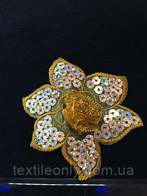Аппликация с серебрянными пайетками цветок , цвет золото