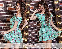 Платье летнее шифоновое с поясом и принтом
