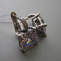 Серебряные серьги  с большими квадратными фианитами, фото 2