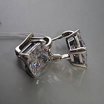 Серебряные серьги  с большими квадратными фианитами, фото 3