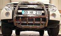 Защита переднего бампера кенгурятник высокий с надписью (нерж.) D70 на Mitsubishi Pagero Vagon 4 2007