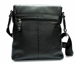 Мужская сумка из натуральной кожи черная с декоративным ремешком, фото 3