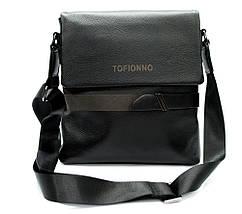 Мужская сумка из натуральной кожи черная с декоративным ремешком, фото 2
