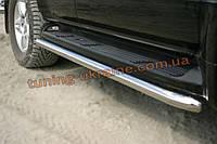 Защита штатного порога D60 на Mitsubishi Pagero Vagon 4 2007
