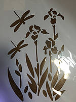 Трафарет пластиковый арт.ST013 22х31 см Ирисы и стрекозы