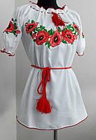 Жіноча вишиванка короткий рукав Маки, фото 1