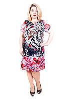 Платье большого размера от производителя Лиана Шифон купон розы (розовый)