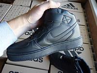 Кроссовки Nike Air Force 1 Black High (Кож зам)