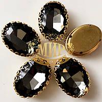 Овал в ажурной золотой оправе Цвет Black Diamond Размер 13х18мм