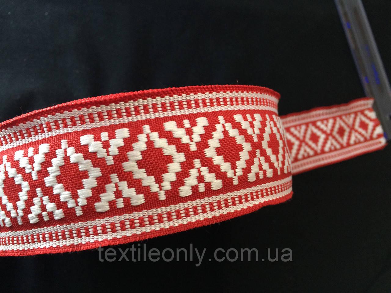 Лента,тесьма орнамент 45 мм бело красная