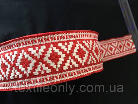 Лента,тесьма орнамент 45 мм бело красная, фото 2