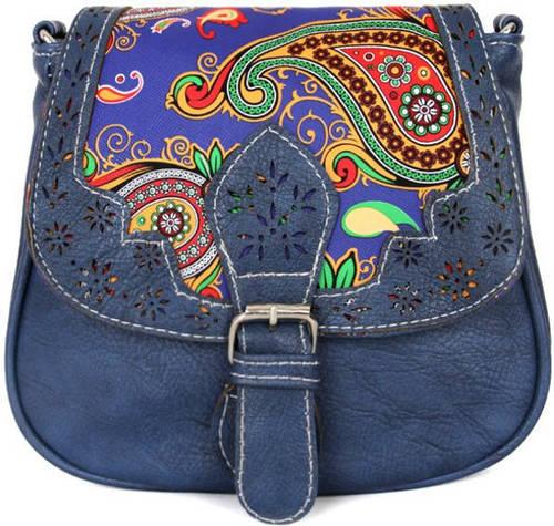 Молодежная женская сумка через плече из искусственной кожи Traum 7215-02, темно-синий