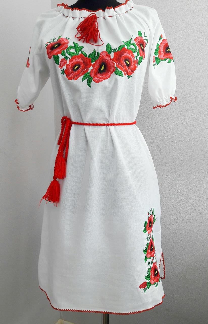 Украинское вышитое платье на льне