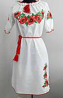 Украинское вышитое платье на льне , фото 1