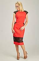 Нарядное женское платье с ажурными вставками