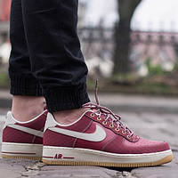Мужские кроссовки Nike Air Force 1 Premium GS Team Red/ Light Bone-Gum Light Brown