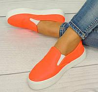 Женские слипоны ярко оранжевого цвета