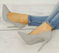 Удобные и модные женские туфли серого цвета на шпильке  размеры 35,37