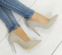 Удобные и модные женские туфли замша на шпильке  размеры 35,36
