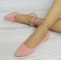 Женские балетки, лодочки туфли  из замши