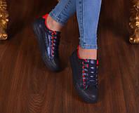 Женские черные кеды на шнурках