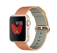 38mm Gold Aluminum Case with Gold/Red Woven Nylon