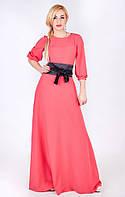 Шикарное длинное платье с поясом