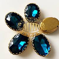 Овал в ажурной золотой оправе Цвет Blue Zircon Размер 13х18мм