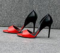 Босоножки красного цвета на тонком каблуке из натуральной кожи С-704