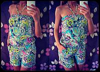 Модный женский комбинезон с карманами принт цветы / Украина / атлас-шифон