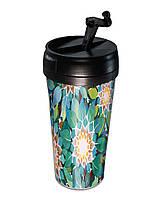 Термо-кружка Бирюзовые цветы
