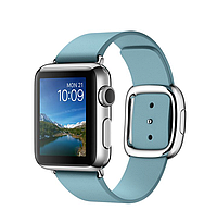 Apple iWatch 38mm Stainless Steel Case with Blue Jay Modern Buckle