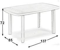Стол садовый Faro 137х85 белый, фото 3