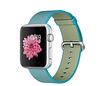 Apple iWatc 42mm Silver Aluminum Case with Scuba Blue Woven Nylon