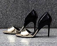 Босоножки  носочек золото зеркало эко кожа задник кожа натуральная С-704