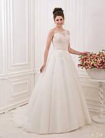 Роскошное свадебное платье А-сылуэта со шлейфом, расшитое бисером и кристалами