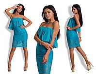 Платье  гипюр с воланом арт. 240 мар.