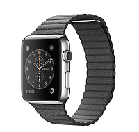 Apple iWatch 42mm Stainless Steel Case with Storm Gray Leather Loop