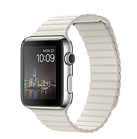Apple iWatch 42mm Stainless Steel Case with White Leather Loop