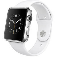 Apple Watch 42mm Stainless Steel Case with White Sport Band ( MJ3V2 )