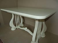 Стол деревянный раскладной Лира белый, бежевый 140(+50)х85х75 см
