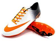 Детские футбольные бутсы Nike Mercurial FG White/Orange/Black