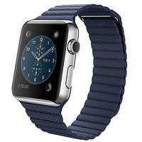 Apple Watch 42mm Stainless Steel Case with Bright Blue Leather Loop (MJ452)