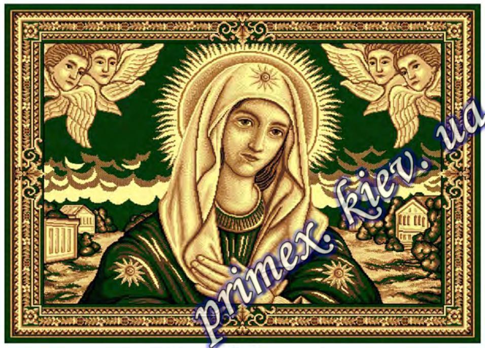 """Синтетический ковер эконом-сегмента Gold Karat """"Дева Мария"""", цвет бежево-зеленый"""
