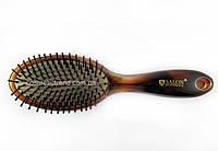 Щетка для волос массажная овальная пластиковая с нейлоновой щетиной 6903TT Salon Professional