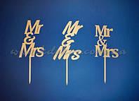 Mr&Mrs топпер для торта (набор 3шт.) заготовка для декора