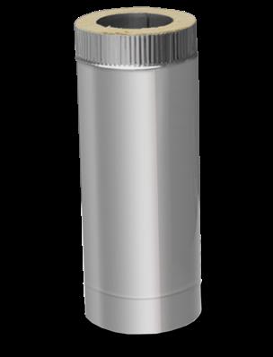 Утепленные дымоходы сэндвич L=1м 0,8 мм ф160/220 (двустенная труба нержавейка в оцинковке)
