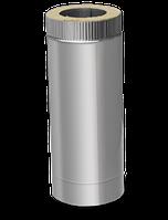 Двустенный сэндвич дымоход L=1м 0,8 мм ф100/160 (утепленные трубы нержавейка в оцинковке) , фото 1