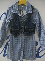 Платье с джинсовой жилеткой на девочку